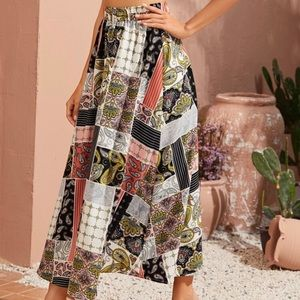 Vintage earthy tone abstract pattern A line skirt